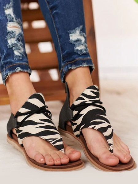 Milanoo Leopard Summer Boots Open Toe Printed Suede Leather Flat Sandals