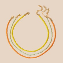 3pcs Simple Beaded Necklace