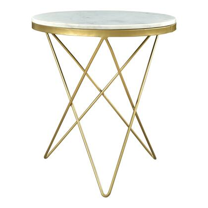 Haley Collection IK-1001-18 Side Table with Gold Powder-Coated Iron Base in White