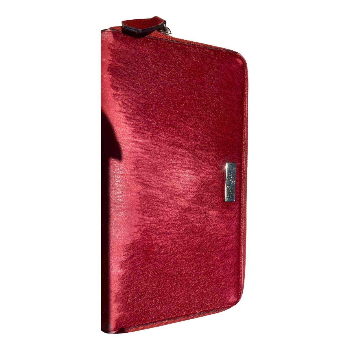 Valentino Garavani - Portefeuille   pour femme en fourrure - rouge