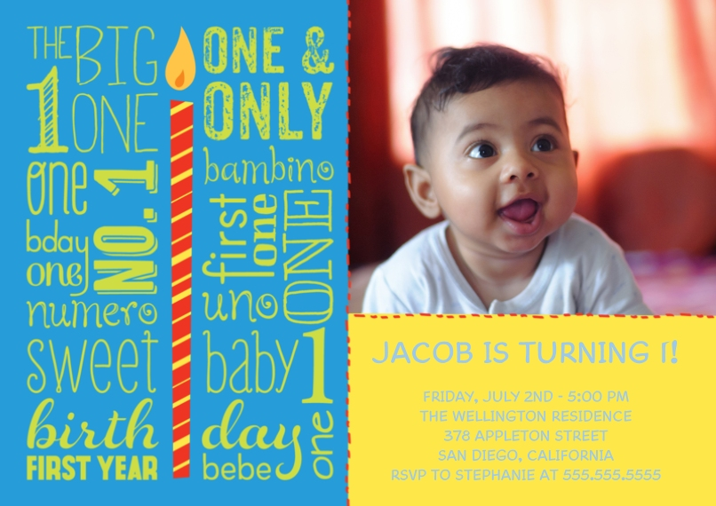 1st Birthday Invitations Flat Matte Photo Paper Cards with Envelopes, 5x7, Card & Stationery -1st Year Sweet Sayings Birthday - Boy