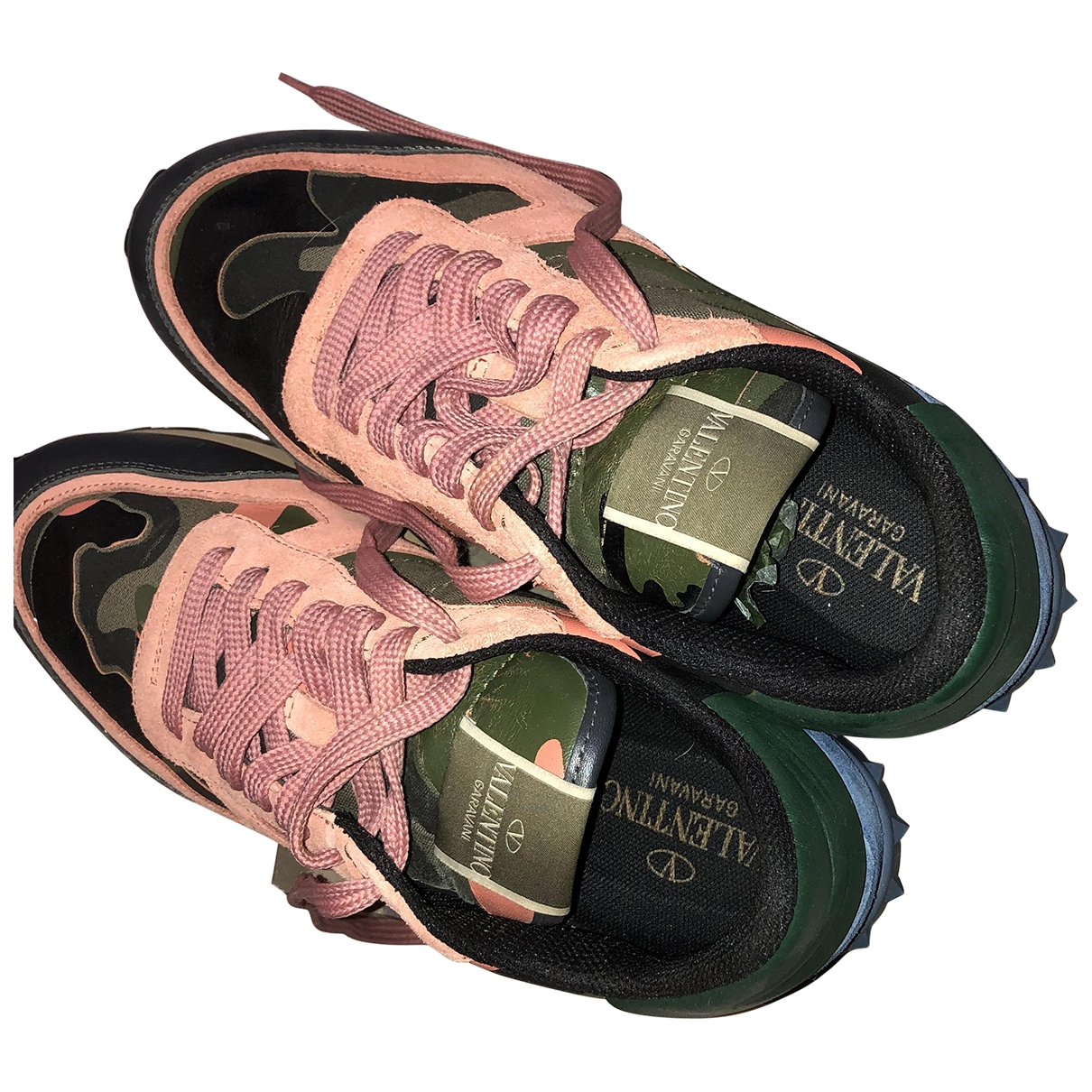 Valentino Garavani - Baskets   pour femme en cuir - kaki