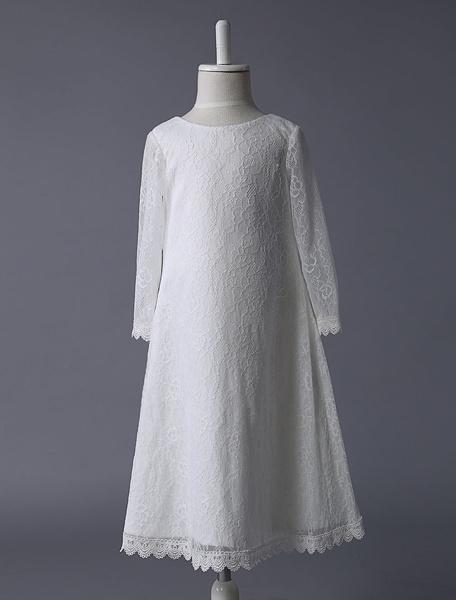 Milanoo Vestidos de Floristas vestido de fiesta de encaje de marfil de manga larga hasta los tobillos