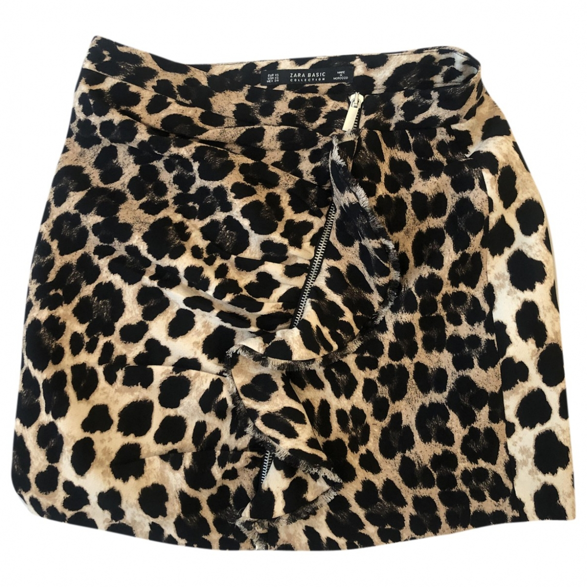 Zara - Jupe   pour femme en coton - elasthane - beige