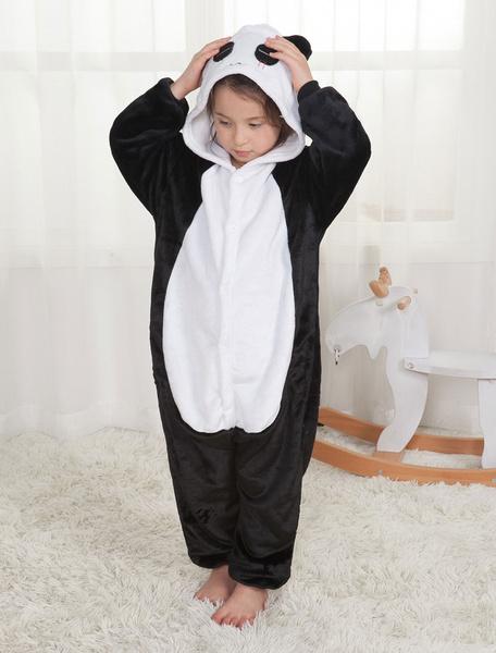 Milanoo Panda Onesie Kigurumi Pajamas Kids Unisex Black Flannel Winter Sleepwear Mascot Animal Halloween Costume