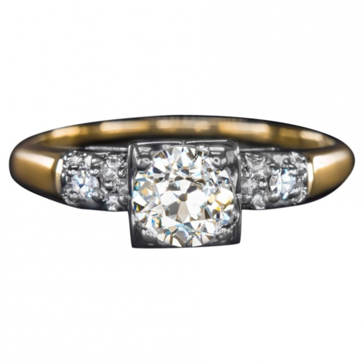 Non Signe / Unsigned Solitaire Ring in  Weiss Gelbgold