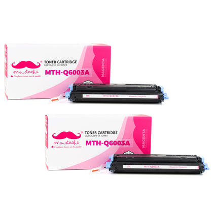 Compatible HP 124A Q6003A cartouche de toner magenta - Moustache - 2/paquet