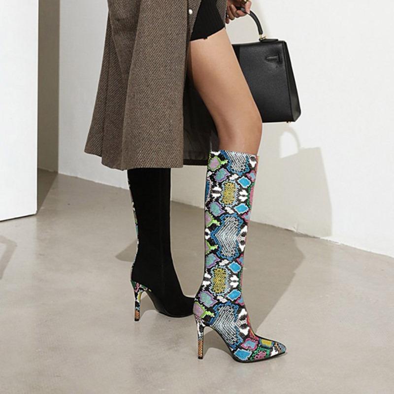 Ericdress Color Block Pointed Toe Stiletto Heel Serpentine Boots