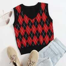 Pulloverweste mit Argyle Muster