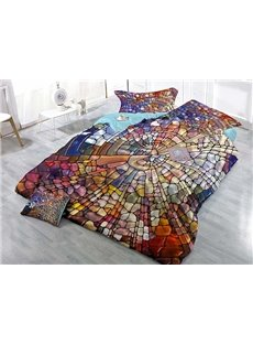 Creative Abstract Colorful Design Wear-resistant Breathable High Quality 60s Cotton 4-Piece 3D Bedding Sets