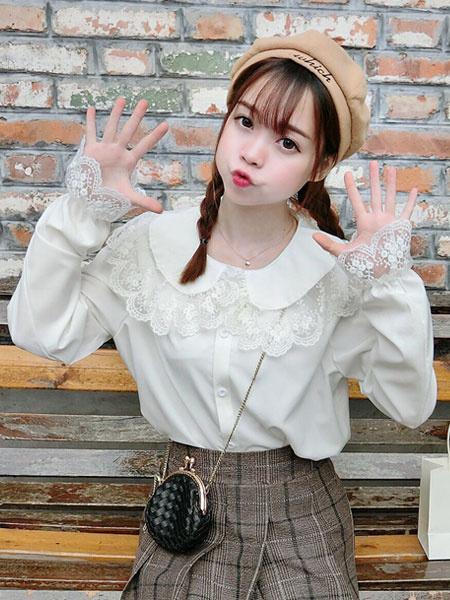 Milanoo Sweet Lolita Shirt Lace Chiffon White Lolita Blouse