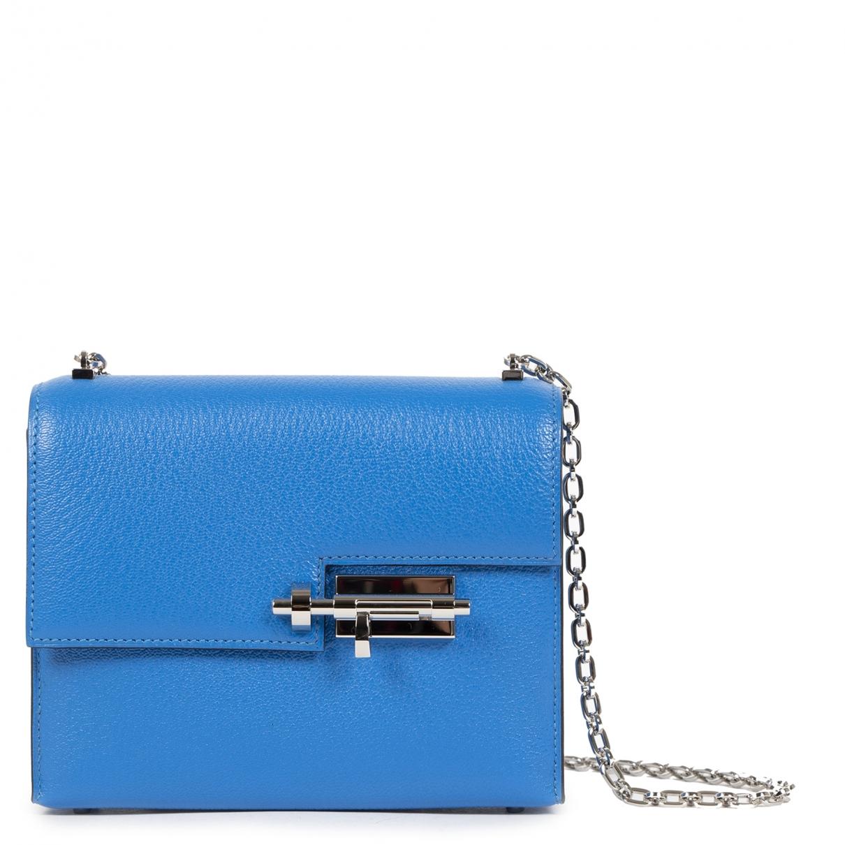 Hermes - Sac a main Verrou Mini pour femme en cuir - bleu