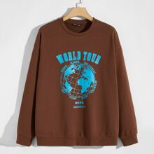 Men Letter and Earth Print Pullover