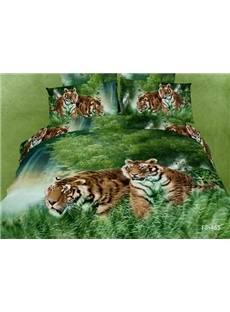 3D Tiger in the Jungle Printed Cotton 4-Piece Bedding Sets/Duvet Covers