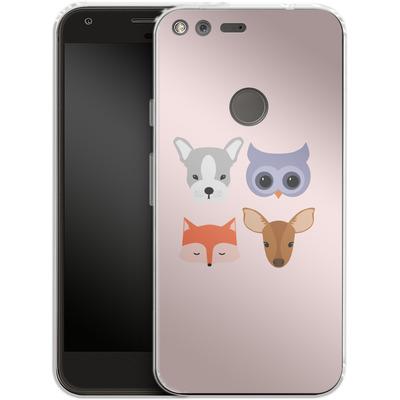 Google Pixel XL Silikon Handyhuelle - Animal Friends on Pink von caseable Designs