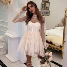Vestidos Cremallera Liso Romantico