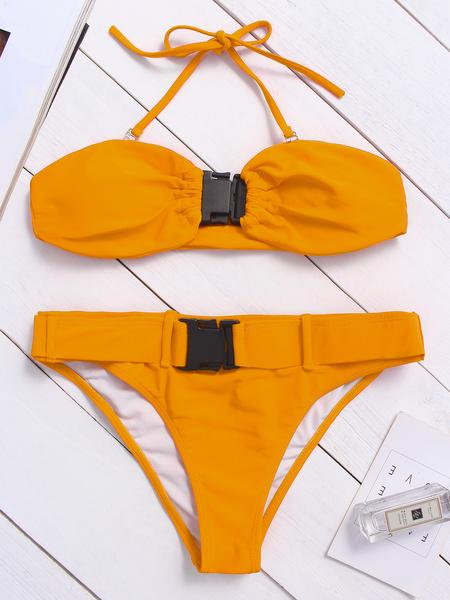 Yoins Yellow Basic Padded Buckle High Waist Bandeau Bikini Set