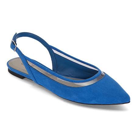 Worthington Womens Gibby Pointed Toe Ballet Flats, 5 1/2 Medium, Blue