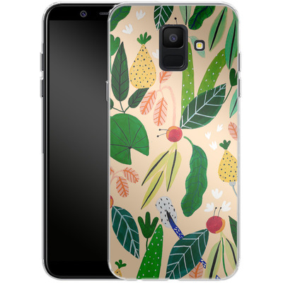Samsung Galaxy A6 Silikon Handyhuelle - Tropical Greens von Iisa Monttinen