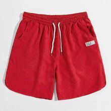 Rot Mit Patches  Buchstaben  Preppy Maenner Shorts