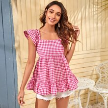 Tie Back Ruffle Gingham Smock Top