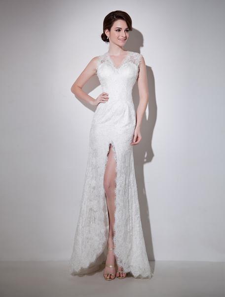 Milanoo Vestido de novia de encaje de color marfil con escote en V de estilo atractivo