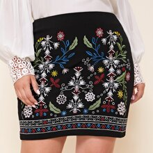 Plus Floral & Geo Embroidery Skirt