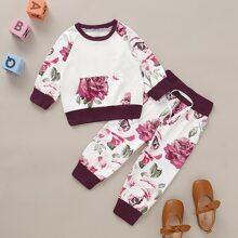 Baby Maedchen Sweatshirt mit Kontrast Einsatz, Blumen Muster und Hose
