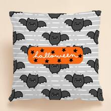 Halloween Bat Print Cushion Cover Without Filler