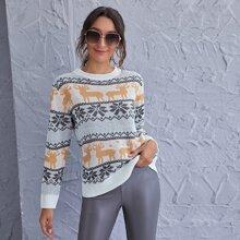 Deer And Snowflake Pattern Sweater
