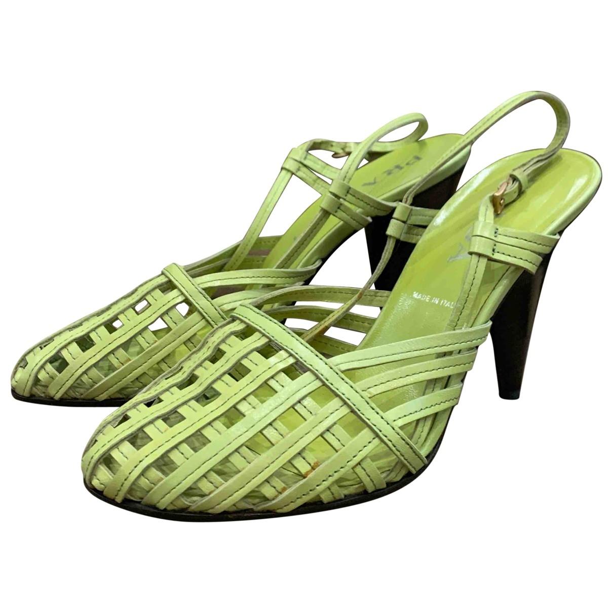 Prada \N Green Leather Heels for Women 39 EU