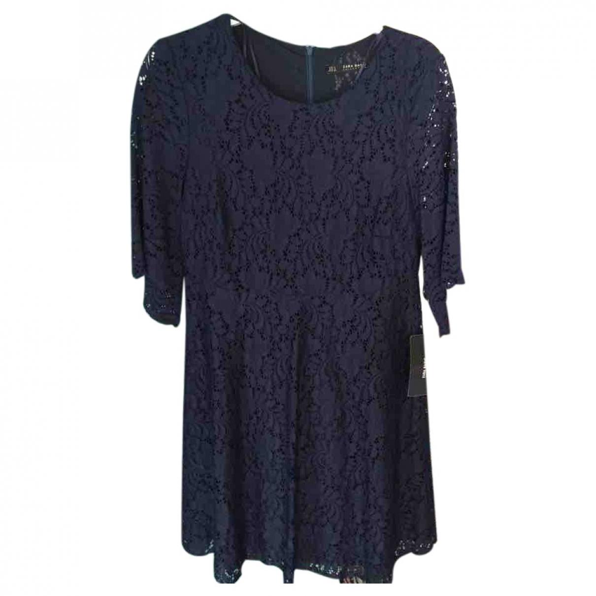 Zara - Robe   pour femme en dentelle - bleu