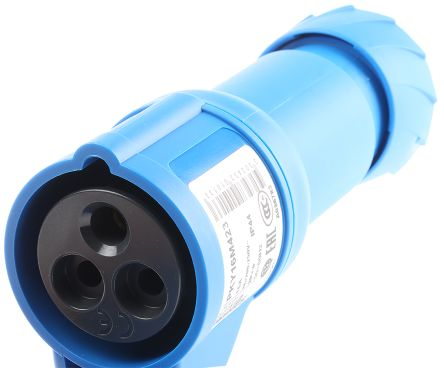 Merlin Gerin , PratiKa IP44 Blue Cable Mount 2P+E Industrial Power Socket, Rated At 16.0A, 230.0 V