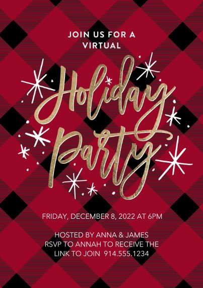 Christmas & Holiday Party Invitations 5x7 Cards, Premium Cardstock 120lb with Elegant Corners, Card & Stationery -Holiday Virtual Invite Plaid by Tumb