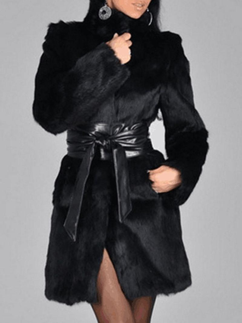 Ericdress Mid-Length Plain Thick Winter Faux Fur Women's Overcoat