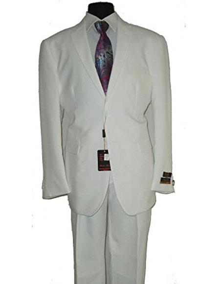Umberto Bonelli Mens Two Buttons White Classic suit Flat Front Pants