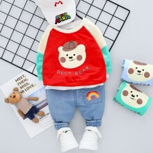 Toddler Girls Cartoon & Letter Graphic Sweatshirt With Jeans