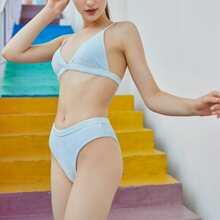 Samt dreieckiger Bikini Badeanzug