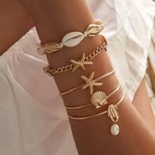 Armband mit Seestern & Muschel Dekor 5 Stuecke