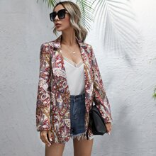 Paisley And Floral Print Lapel Collar Blazer