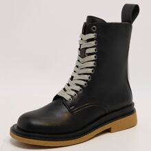 Zip Side Lace-up Front Combat Boots