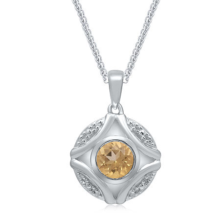 Marvel Universe Fine Jewelry By Marvel Womens Diamond Accent Genuine Yellow Topaz Sterling Silver Marvel Pendant Necklace, One Size , No Color Family