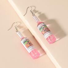 Wine Bottle Charm Drop Earrings