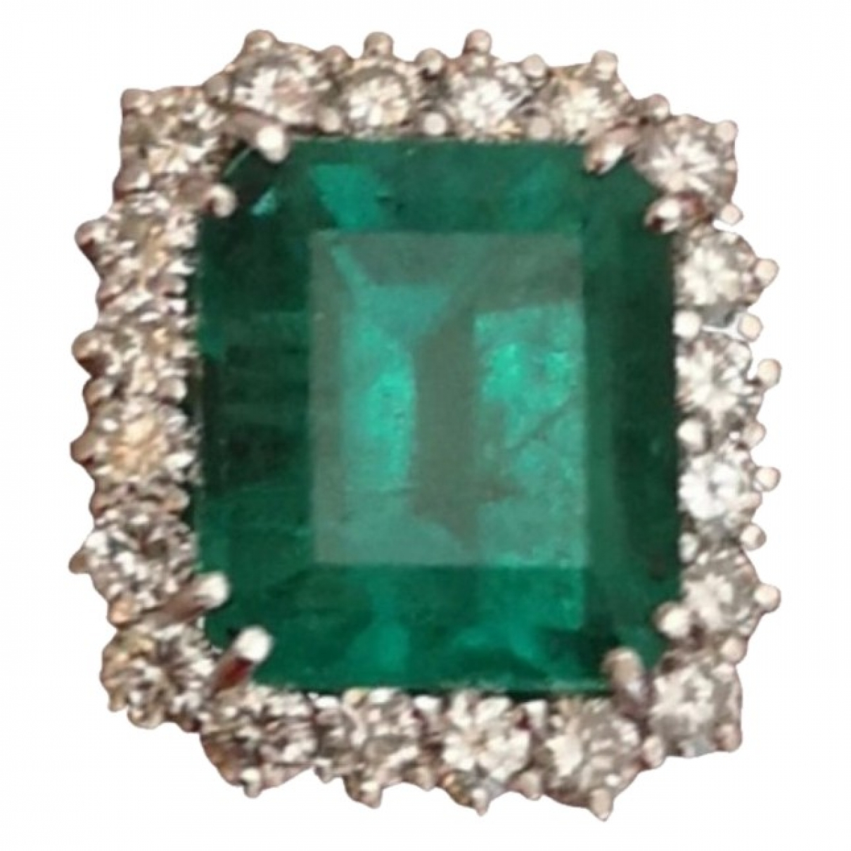 Non Signé / Unsigned Emeraude Green White gold ring for Women \N