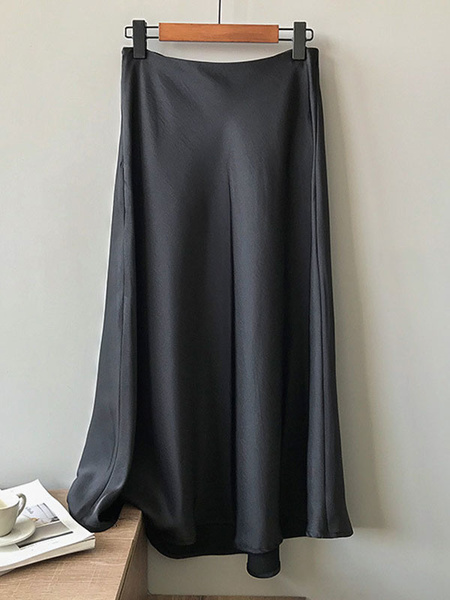 Milanoo Maxi Skirt Silk Like High Waist Skirt