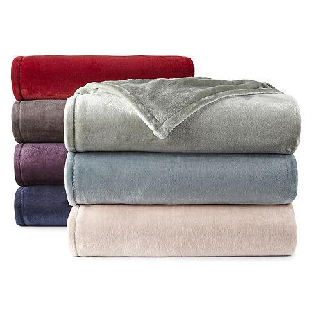 Home Expressions Velvet Plush Blanket, One Size , Blue