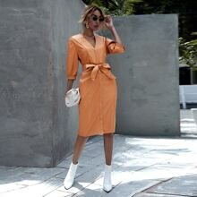 Solid PU Leather Belted Dress