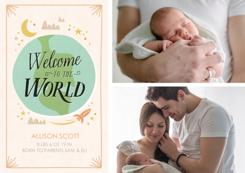 Newborn 5x7 Cards, Standard Cardstock 85lb, Card & Stationery -Welcome to the World Double