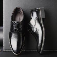 Zapatos de vestir de hombres con cordon delantero con diseño perforado