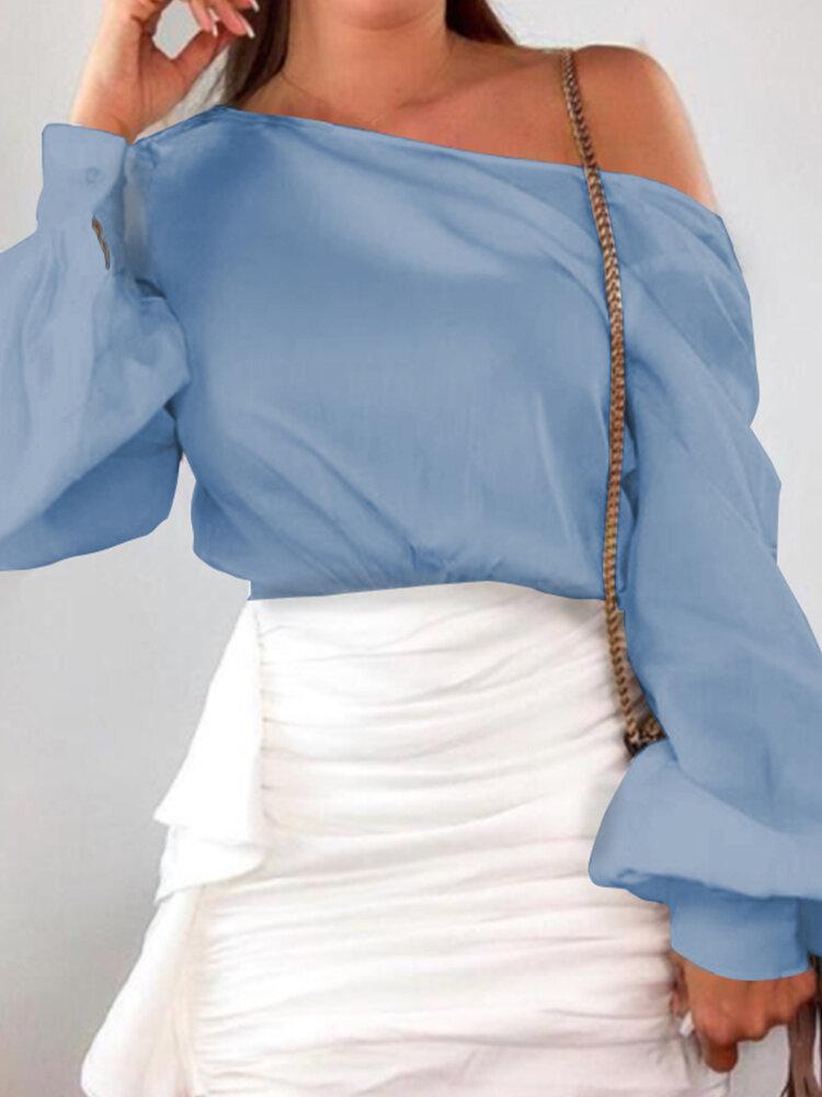 Solid Colo Off Shoulder Long Lantern Sleeve Blouse